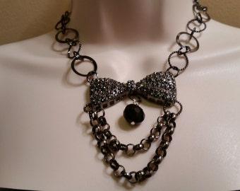 Black bib necklace/ goth necklace/ metal ribbon necklace/ black chain necklace/ black teardrop bead necklace/ victorian necklace