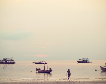 Thailand Photography, Large Wall Art, Koh Samui Beach Photography, Sunset Tranquil Relaxing Home Decor