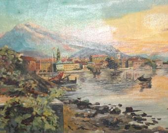 Antique Impressionist oil painting landscape seascape