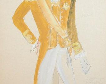 Vintage theatre man costume design gouache painting signed