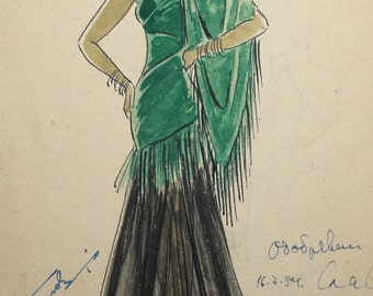 1954 watercolor dress theater costume drawing signed