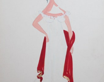 1965 gouache girl theater costume painting signed