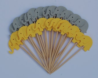 24 Gray/Yellow Elephants Party Picks Cupcake Toppers Toothpicks Food Picks