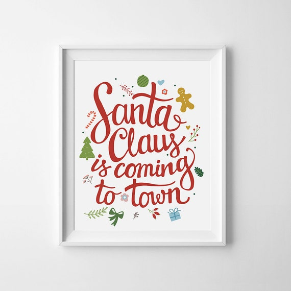 christmas printable wall art decor santa by wallartprintables
