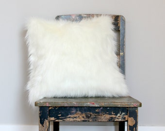 White Fox Faux Fur Pillow,  Off White Fur Cushion Cover,  Accent Pillow,  Fake Fur Throw Pillow, Winter Decor, Textured Throw Pillow, Decor