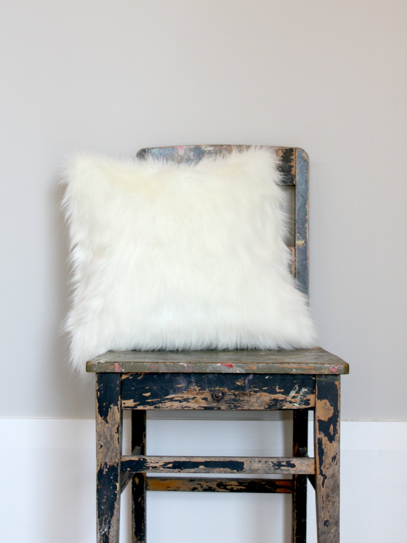 white fox faux fur pillow off white fur cushion cover. Black Bedroom Furniture Sets. Home Design Ideas