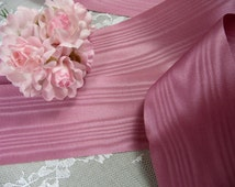 """Moire Ribbon Mauve Pink 2"""" Wide NOS Rayon Trim for Gowns Costumes Wreaths Crafts"""