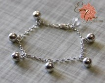 Bells Anklet, Sterling Silver, Baby Ankle Bracelet, Infant Jewelry