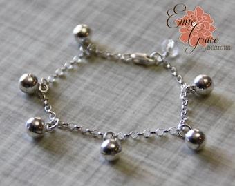 Bells Anklet, Sterling Silver, Baby Ankle Bracelet, Infant Jewelry