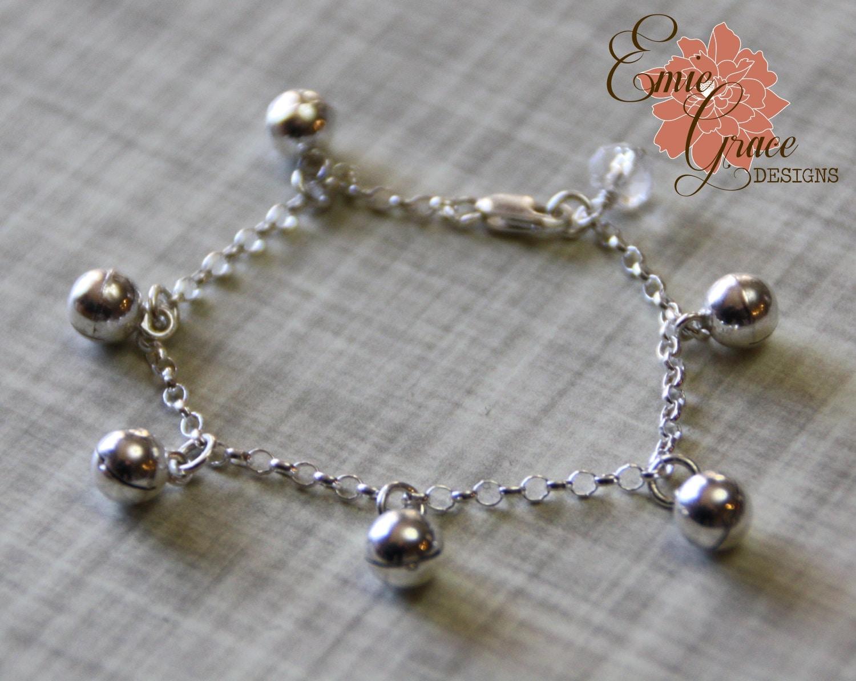 Bells Anklet Sterling Silver Baby Ankle Bracelet Infant