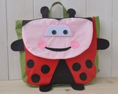 "Backpack ""Buggy"" (Beautiful colors for this ladybug shape backpack, 100% cotton, adjustable straps, easy velcro closure and lining inside)"