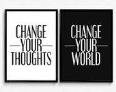 """PRINTABLE Art """"Change Your Thoughts Change Your World"""" Typography Art Print Set of 2 prints Black and White Home Decor Office Decor"""
