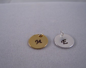 Add On Charm, Initial stamped round charm, Gold round initial charm, Silver round initial charm