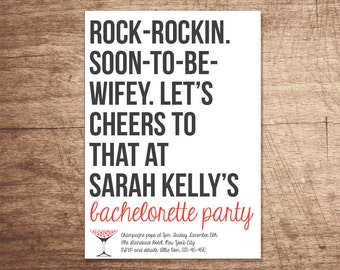 "Bachelorette Party Invitation ""Cheers to that, soon-to-be-wifey"""