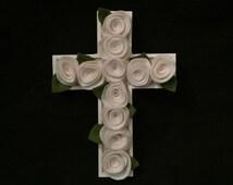 Children\\\'s Wooden Crosses Handmade wood and wool rosette