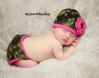 Crochet Camo Hat and Diaper Cover Set - Newborn Photo Prop