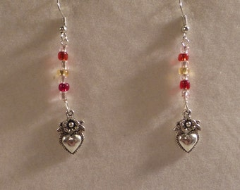 Hand Beaded Flower Heart Earrings