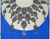 Vintage Large Heavy Ornate Asian Eastern Exotic Silver Filigree Bib Festoon Necklace