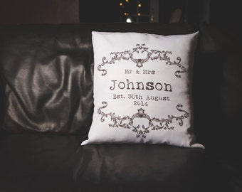 Vintage Mrs & Mrs Personalised Wedding Cushion. Very Romantic Anniversary Present