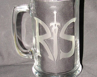 RuneScape R and S Logo Hand Etched on your pick of Beer Mug or Drinking Glass