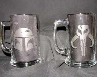 Star Wars Boba Fett Helmet & Skull set of 2 Hand Etched on your choice of Beer Mug or Pint Glass