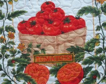 Quilted Basket of Tomatoes Table Topper, Home Decor, Table Centerpiece