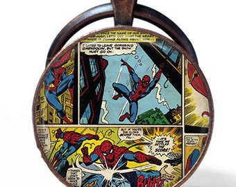 Spiderman Comic Book Necklace or Keychain Pendant