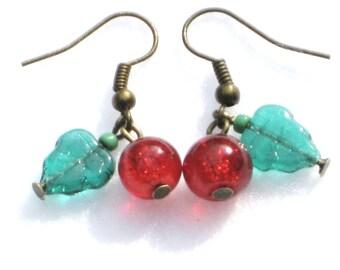 Christmas Earrings, Xmas Earrings, Christmas Holly Earrings, Holly Earrings, Stocking Filler, Winter Gift