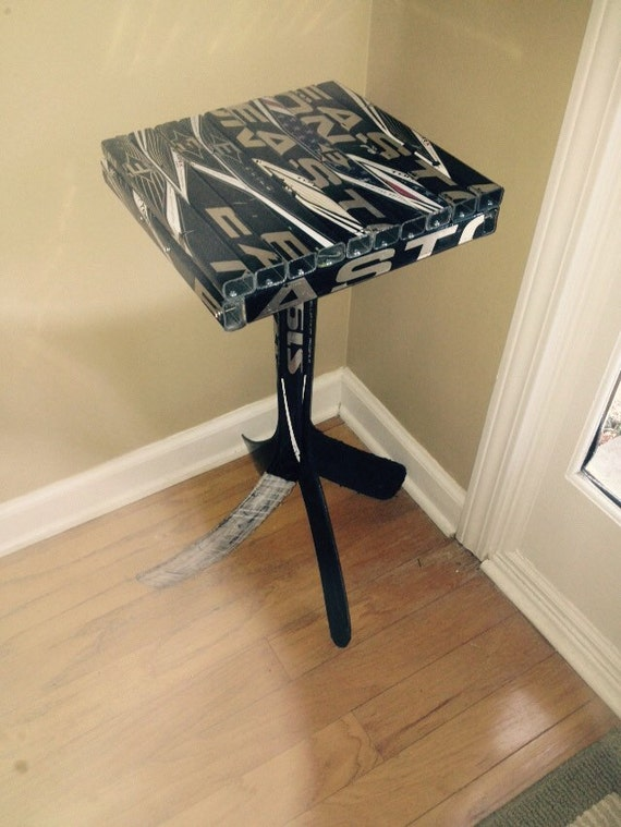 12x12 hockey stick end table by warriorcustoms on etsy