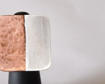 Modern Geometric Sterling Silver and Hammered Copper Ring with Matte Finish