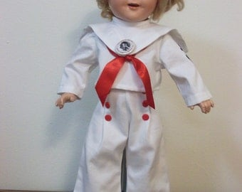 "Shirley Temple Doll white sailor outfit for 20 inch compo from ""Captain January"""