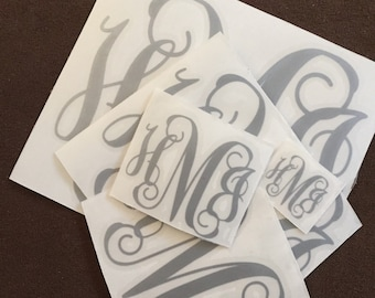 Monogram Decal Set by StickItPersonalized (1 xs,1 sm, 1 m, 1 l, & 1 xl)=5 total