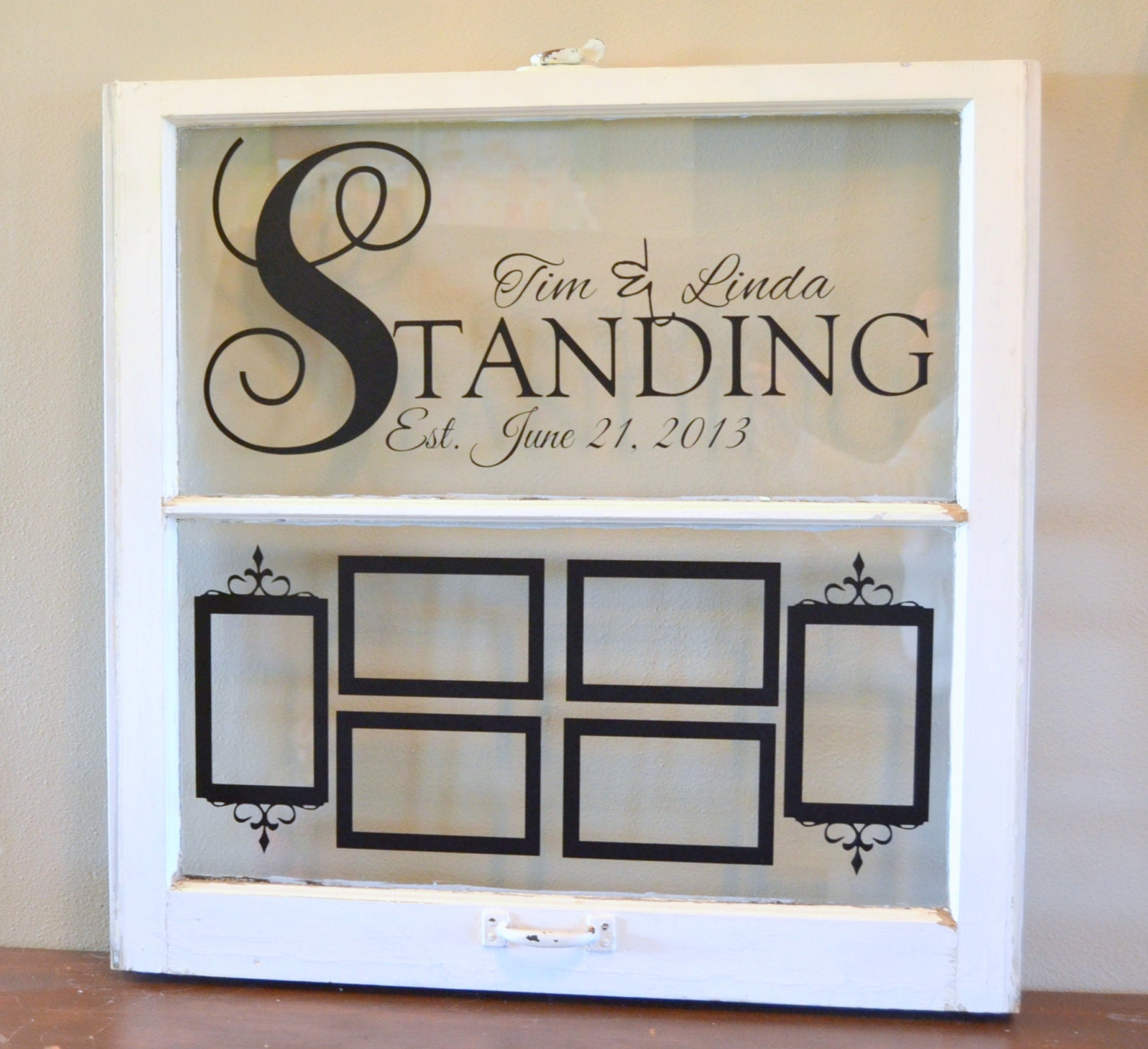 Antique Wedding Anniversary Gifts: Personalized Antique Window For Wedding Gift Anniversary-with
