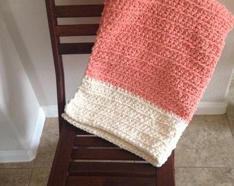 Peaches and cream crochet baby blanket