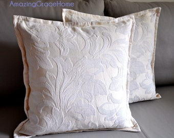SALE Two embroidered pillow cover tailored cushion cover cream cushion case designer pillow sham wedding shower gift