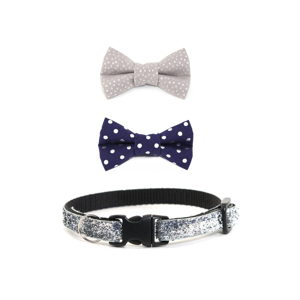 cat collar bow tie gift set midnight sparkle by