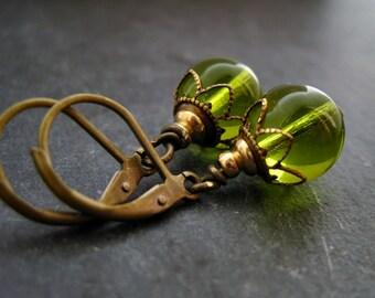 Olive Earrings MossRose green dangles vintage dangles