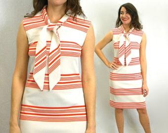 60 Striped Shift Dress | Orange White Striped Dress | Bleeker Street | Medium