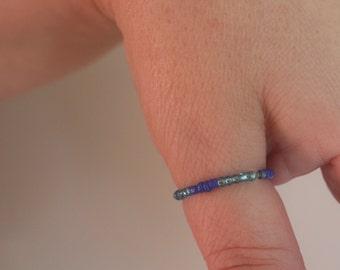 dark/light blue beaded stretchy/elastic ring