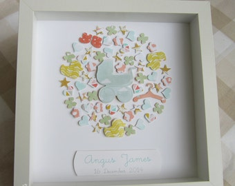 Customised Shadow Box for a Baby Boy