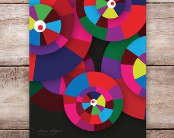 Colorful Abstract Circles | Abstract Poster | Playroom Decor