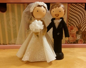 Bride and Groom Clothespin Doll Set
