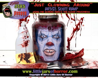 Scary Clown Head In Jar Halloween Decor / Haunted House Prop perfect for Horror, Walking Dead, Monster or Zombie fans