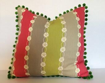 13XGirl's Pillow,Accent Pillow,Pompom Pillow,Hot Pink Pillow,striped Pillow,Accent pillow,Toss Pillow,Decorative Pillow,couch pillow,Cushion