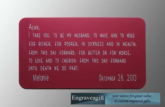Vows, Wedding Gift, Engraved Wallet Card, Personalized, Wallet Message ...