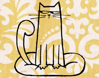 Cat Stamp: Wood Mounted Cat Rubber Stamp