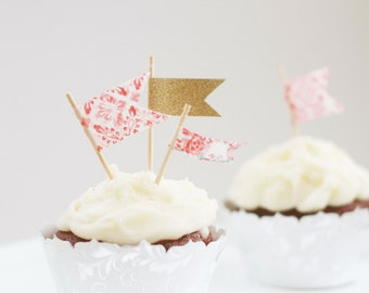 Pink and gold flag cupcake toppers, mini cupcake toppers, pink and gold wedding, birthday party, bridal shower, wedding, engagement party,