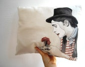 Romantic, French mime, clown circus, hand painted, throw pillow, striped accent cushion