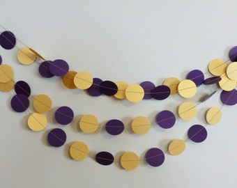 Purple and Gold Shimmer Paper Garland | Ready to Ship | Louisiana Party Decor
