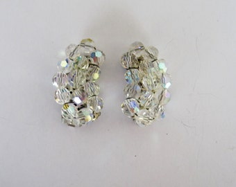 Classic 1940s Clear Bead Clip On Earrings